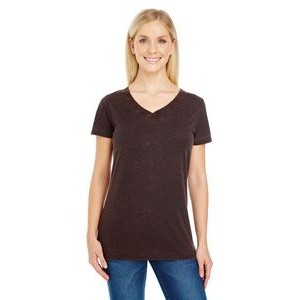 THREADFAST Ladies' Cross Dye Short-Sleeve V-Neck T-Shirt