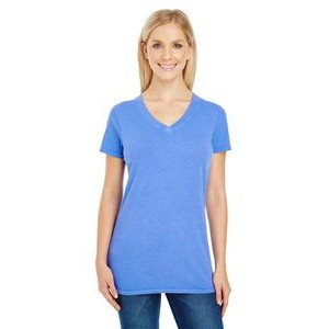 THREADFAST Ladies' Pigment-Dye Short-Sleeve V-Neck T-Shirt