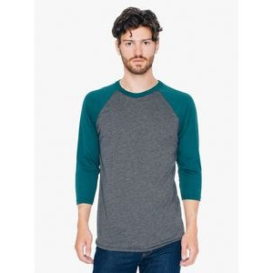 American Apparel Unisex Poly-Cotton USA Made 3/4-Sleeve Raglan T-Shirt