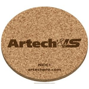 "3/16"" Natural Cork Coasters Round (3.5"" dia.), Laser engraved"